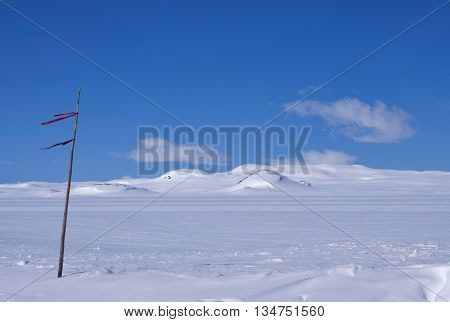 The snow covered Norwegian mountain plateau Hardangervidda