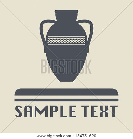 Abstract Antique amphora icon or sign, vector illustration