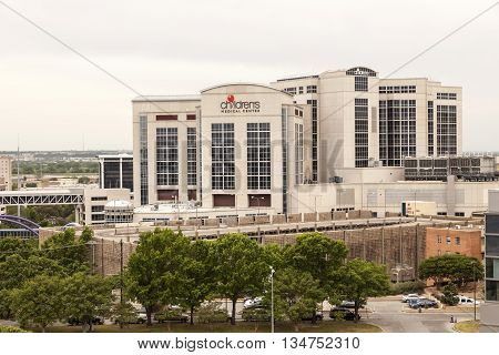 DALLAS USA - APR 9: Exterior of the Childrens Medical Center in Dallas April 9 2016 in Dallas Texas United States