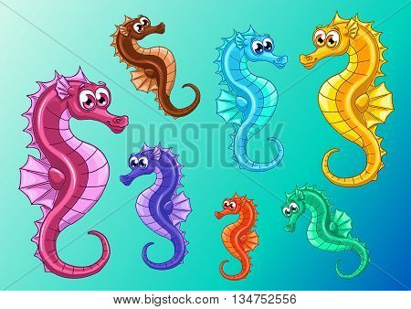 Set seven lovely cute iridescent sea horses also known as hippocampus on a blue sea background