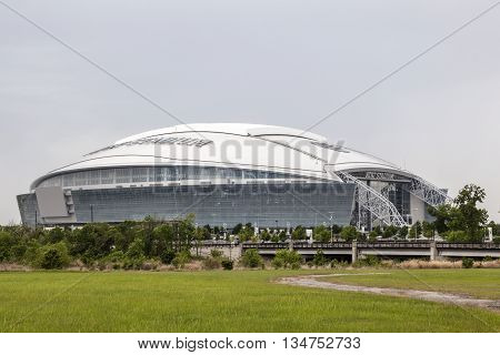 ARLINGTON USA - APR 9: Exterior view of the AT&T Stadium formerly known as Cowboys Stadium in Dallas. April 9 2016 in Arlington Texas United States