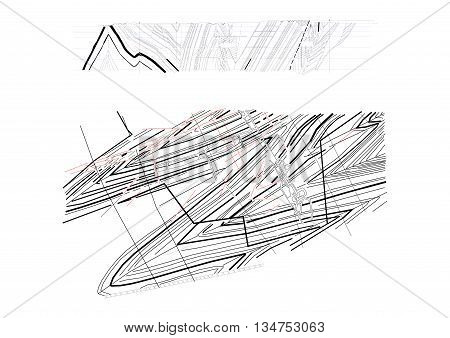 Drawing, Geology, Coal Seams, Coal Mine. Pattern Mining