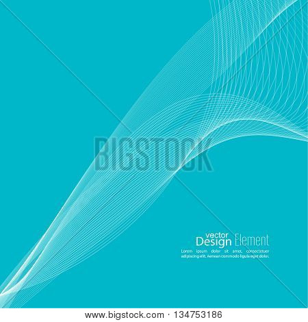 Abstract techno background with lines in waves. Technology, technical vector. Futuristic high tech design for scientific cover book, brochure, flyer, poster, magazine, website. Blue