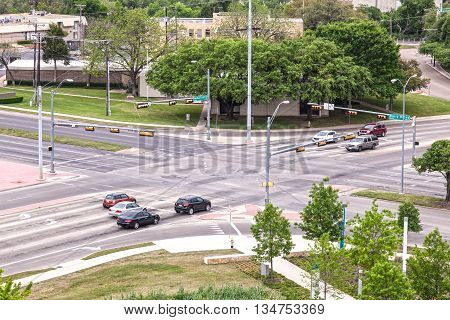 Crossroad with traffic light in the city of Dallas. Texas United States