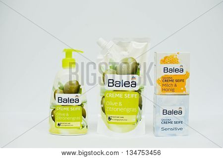 Berezovitsa, Ukraine - Circa June, 2016: Set Of Hypoallergenic Liquid Soap Balea Creme Seife Sensiti