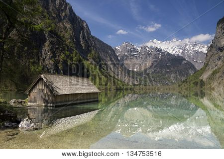 Boathouse in Lake Obersee near Berchtesgaden in the German Alps