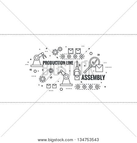 Thin Line Art Design. Linear vector set icons and elements.  Concept Production line, Assembly, development, robotic automatic conveyor manufacture.