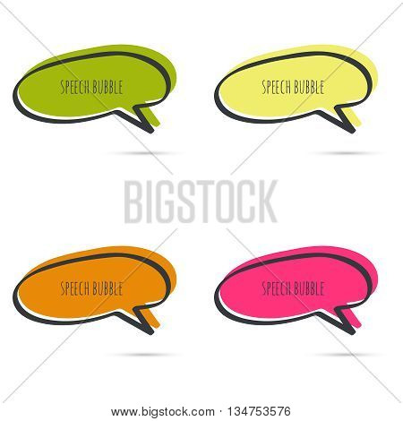 Set hand drawn speech bubble. Vector frame. Text box. Multicolor, red, orange green yellow