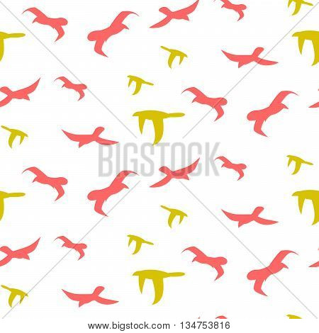 Flock of birds seamless vector pattern. Red and green bird flight silhouettes in the sky on white background. Minimalist style textile fabric wildlife freedom ornament.
