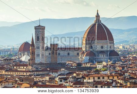 Florence evening old town view to santa maria del fiore cathedral tuscany region italy