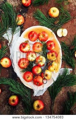 Apples Sliced Above Rustic Wooden Table. Detox And Healthy Break