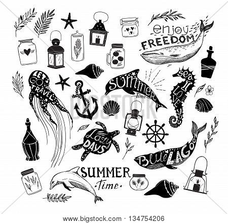 Hand Drawn Vector Illustration - Marine Life. Perfect For Invitations, Greeting Cards, Quotes, Blogs