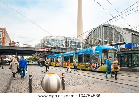 BERLIN, GERMANY- May 16: Typical Street view in Berlin, Germany. Berlin is the capital of Germany. With a population of approximately 3.5 million people. May 16, 2016. BERLIN, GERMANY