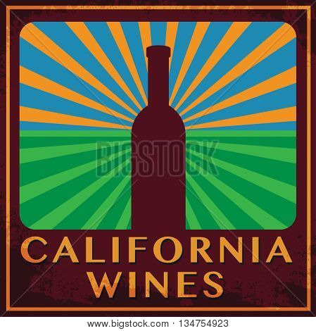 Abstract label with words California Wines, vector illustration