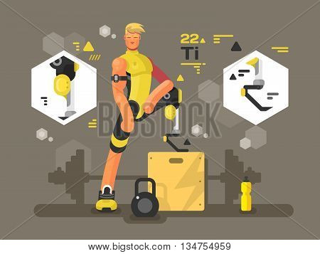 Sport prostheses design flat. Athlete disability and challenge activity, vector illustration