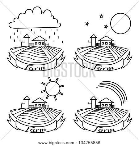 Rural landscape with fields and houses. Day night rainbow rain agriculture Landscape. American Farm hand drawn vector sketch. Engraving illustration. For bakery and travel ads brochures labels