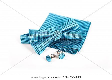 Bow tie, handkerchief and cufflinks. Wedding accessories groom