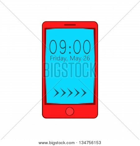Smartphone with clock on display icon in cartoon style on a white background