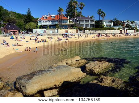 Sydney - October 19, 2014. People are already enjoying the warm weather in spring time on Camp Cove beach.