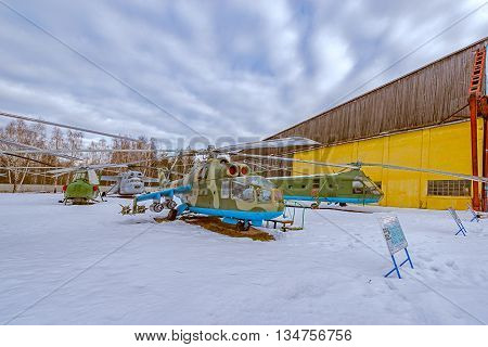 Monino Moscow Region Russia - February 05 2016: Combat transport helicopters. Exposition of famous Central Museum of the Russian Air Force.