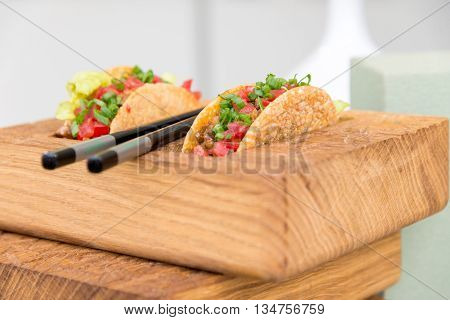 Fresh Mexican Taco Shells With Beef And Vegetables