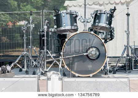 the drum set on the concert stage
