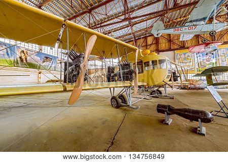 Monino, Moscow Region, Russia - February 05, 2016: Unique heavy bomber - Ilya Muromets, built in 1913. Constructed by Ivan Sikorsky. Exposition of famous Central Museum of the Russian Air Force.Exposition of famous Central Museum of the Russian Air Force.