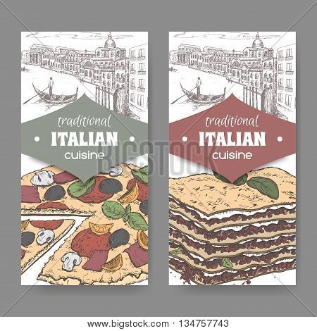 Set of two traditional Italian cuisine labels with Venice landscape, color pizza and lasagna on white. Great for pizzeria, bakery and restaurant, cafe ads, brochures, labels.