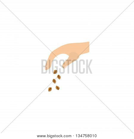 Illustration of scattering seeds. Icon of flat style