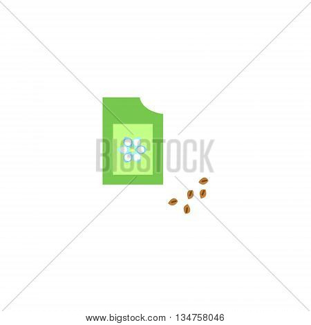 Image of packaging seeds. Flat style. Packaging seeds icon illustration.