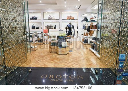 KUALA LUMPUR, MALAYSIA - MAY 09, 2016: Oroton store in Suria KLCC. Suria KLCC is located in the Kuala Lumpur City Centre district. It is in the vicinity of the landmark the Petronas Towers.