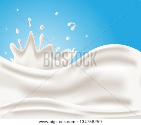 Tasty milk vector , milk background on blue background