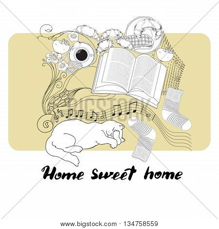 Hand drawn vector lettering. Calligraphic quote printable phrase Home sweet home on light background with socks, cat, book, cookies, croissant, coffee, notes, apple.