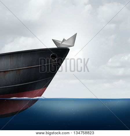 Big business helping small business as a financial and corporate support metaphor as a huge ship providing assistance to a small paper boat as a symbol for investment or economic funding of smaller companies with 3D illustration.