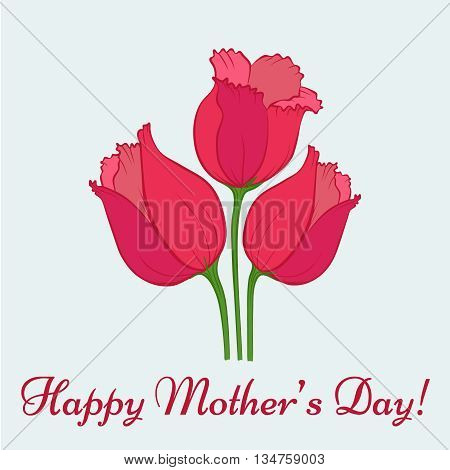 Happy Mothers Day. Vector festive holiday illustration with lettering and tulips. Happy mother day background. Hand drown illustration. Beautiful bouquet of purple tulips