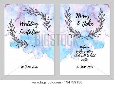 Hand Drawn Vector Illustration - Wedding Invitation Card With Watercolour Background.