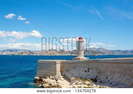 View on Marseille from Chateau d'If,  France. On sunny warm day in Provence.