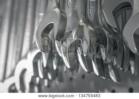 Hand tools, metal wrenches for car service and repair