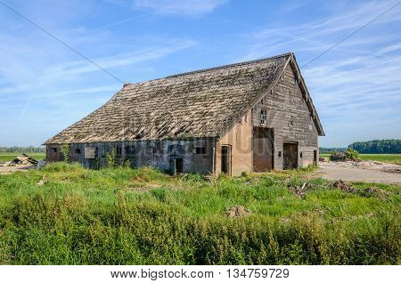 Old thatched barn of a farm in a Dutch polder area shortly before the demolition. It is a sunny day in the summer season.