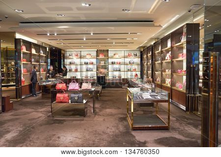KUALA LUMPUR, MALAYSIA - MAY 09, 2016: Gucci store in Suria KLCC. Gucci is a Italian luxury brand of fashion and leather goods, part of the Gucci Group