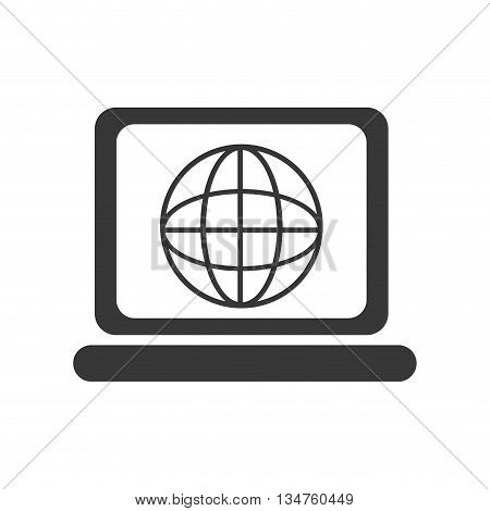 black laptop with abstract world map on the screen over isolated background, vector illustration
