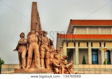 Revolutionary statues at the Mausoleum of Mao Zedong in Beijing, China