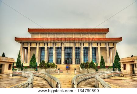 The Chairman Mao Memorial Hall or Mausoleum of Mao Zedong on Tiananmen square in Beijing, China