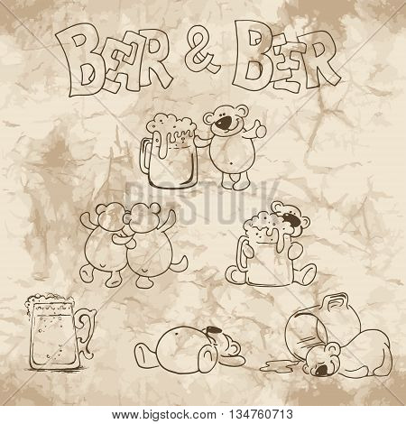 Hand drawn pictures of bear and beer on the old paper background. Vector illustrations.