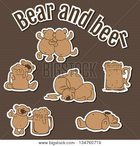 Hand drawn pictures of bear and beer on the old brown background. Vector illustrations.