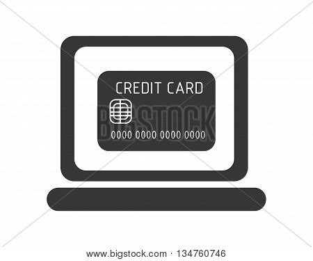 black laptop with black credit card on the screen over isolated background, commerce concept, vector illustration