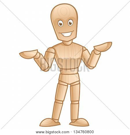 Funny wooden mannequin posing, vector illustration isolated on white background