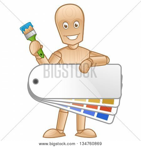 Wooden mannequin with a paint brush, vector illustration