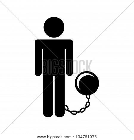 slave with fetter isolated icon design, vector illustration eps10 graphic