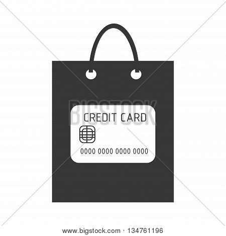 black shopping bag with white credit card icon over isolated background, commerce concept, vector illustration